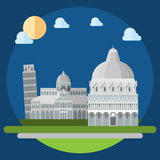 Flat design of piza square buildings Stock Photography