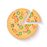 Flat design pizza icons isolated on white. Vector Royalty Free Stock Images