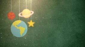 Flat design planets falling down hanging on string green background star earth saturn