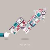 Flat design planning concept icons set