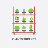 Flat Design Plants Trolley Royalty Free Stock Image
