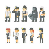 Flat design of police set Stock Photography