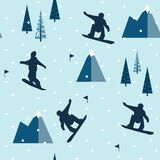 SNOWBOARD JUMPING IN MOUNTAIN WINTER LANDSCAPE. FLAT POLYGON DESIGN. SEAMLESS VECTOR PATTERN. FLAT DESIGN. POLYGON ART. WINTER MOUNTAIN LANDSCAPE. SNOW FALLING Royalty Free Stock Photo