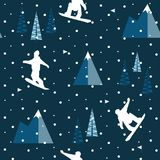 SNOWBOARD JUMPING IN MOUNTAIN WINTER LANDSCAPE. FLAT POLYGON DESIGN. SEAMLESS VECTOR PATTERN. FLAT DESIGN. POLYGON ART. WINTER MOUNTAIN LANDSCAPE. SNOW FALLING Stock Photography