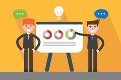 Flat design, presentation business man concept illustration Stock Photos