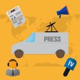 Flat Design With Press And News Stock Photos