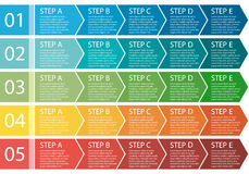 Flat design. Process arrows boxes. Five steps. Royalty Free Stock Photos