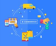 Flat design processing of online payments Stock Photos
