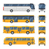 Flat design public transport Retro vintage, Big tour bus. Cool modern flat design public transport items city transit shorter distance bus, side and front view vector illustration