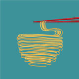 Flat design Ramen noodles. Flat design  ramen noodles with chopstricks Stock Photography
