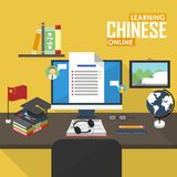 E-learning Chinese language. Flat design raster illustration concept of learning Chinese language online, distance education and online training courses Royalty Free Stock Images