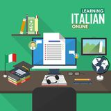 E-learning Italian language. Flat design raster illustration concept of learning Italian language online, distance education and online training courses Royalty Free Stock Image