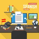 E-learning Spanish language. Flat design raster illustration concept of learning Spanish language online, distance education and online training courses Royalty Free Stock Photography