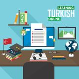 E-learning Turkish language. Flat design raster illustration concept of learning Turkish language online, distance education and online training courses Stock Images