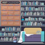 Flat Design Reading Room 2017 Printable Calendar Starts Sunday. Flat Design Reading Room 2017 Printable Calendar Starts Sunday Vector Illustration Royalty Free Stock Image