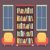 Flat Design Reading Seats and Bookcase Stock Photography
