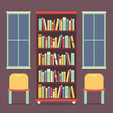 Flat Design Reading Seats and Bookcase Royalty Free Stock Images