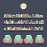 Flat Design Reading Seats and Bookshelves. Vector Illustration stock illustration