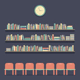 Flat Design Reading Seats and Bookshelves. Vector Illustration royalty free illustration