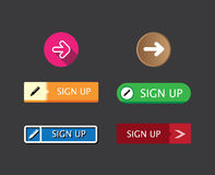 Flat design rectangle and round sign-up button collection set fo Royalty Free Stock Photo