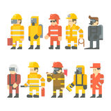 Flat design of rescue worker set Stock Photos