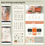 Flat design responsive pixel perfect UI mobile app and website template Stock Photography