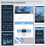 Flat design responsive pixel perfect UI mobile app and website template Royalty Free Stock Image