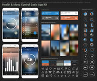 Flat design responsive UI mobile app and website template. Flat design responsive Health and Mood Control UI mobile app template with trendy blurred backgrounds stock illustration