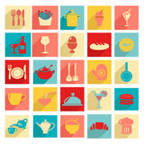 Flat design Restaurant and dining icons  Silhouettes. A set of Restaurant and dining  Icons Set Flat design style elements Stock Photo