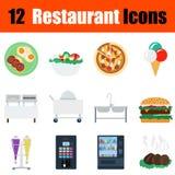 Flat design restaurant icon set Stock Images