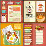 Flat design restaurant menu, web elements, icons. Stock Photo