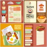 Flat design restaurant menu, web elements, icons. Stock Photo