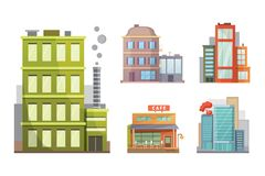 Flat design of retro and modern city houses. Old buildings, skyscrapers. colorful cottage building, cafe house. Royalty Free Stock Photography