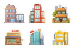 Flat design of retro and modern city houses. Old buildings, skyscrapers. colorful cottage building, cafe house. Stock Images