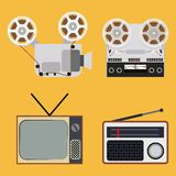 Flat design retro objects with a film projector, Royalty Free Stock Photo