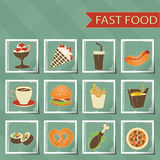 Flat design retro style fast food icons set on Stock Images