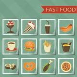 Flat design retro style fast food icons set on Stock Images