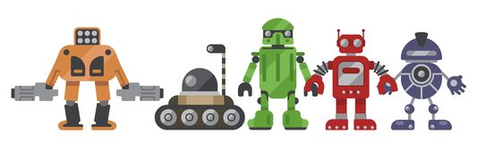 Flat Design Of Robots. Set Of 5 Colorful Robots Characters vector illustration