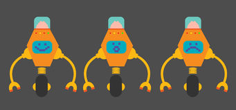 Flat design robots. Smiling, surprised and sad, set of flat design robots Stock Photo