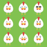Flat design rooster or chicken cartoon character set stock illustration
