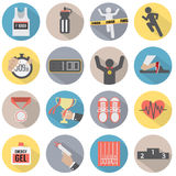 Flat Design Run Icon Set Stock Photo