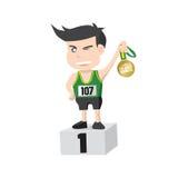 Flat Design Runner Athlete Showing Golden Medal Winner On A Pedestal Stock Photography