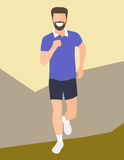 Flat design running man. Boy run, front view. Vector illustration for healthy lifestyle, weight loss, health and good habits artic Royalty Free Stock Photos