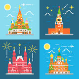 Flat design Russia landmarks set Royalty Free Stock Image