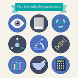 Flat design scientific research icons Royalty Free Stock Photos