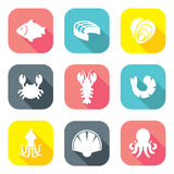 Flat Design Seafood Icons Royalty Free Stock Photography