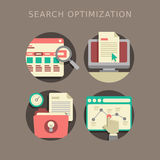 Flat design of search optimization Royalty Free Stock Images