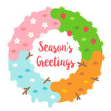 Flat design season`s greetings card with wreath Royalty Free Stock Photos