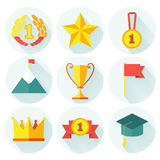Flat design of set awards vector icons with lonh Royalty Free Stock Photos