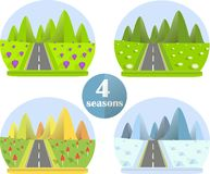 Flat design set bright colorful image four seasons in the mountain, grey road, violet crocus, white daisies Royalty Free Stock Images